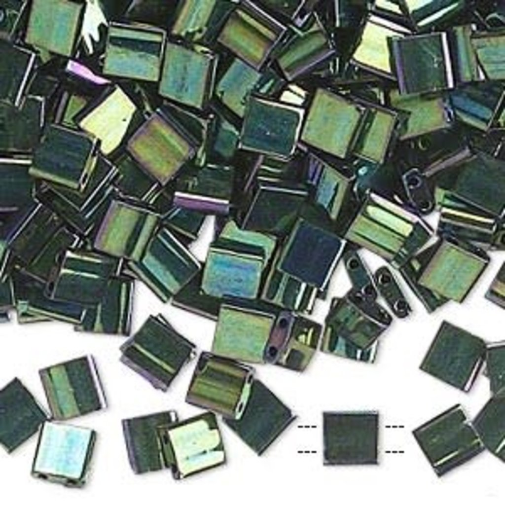 Miyuki Tila Metallic Mala Green 10Gm