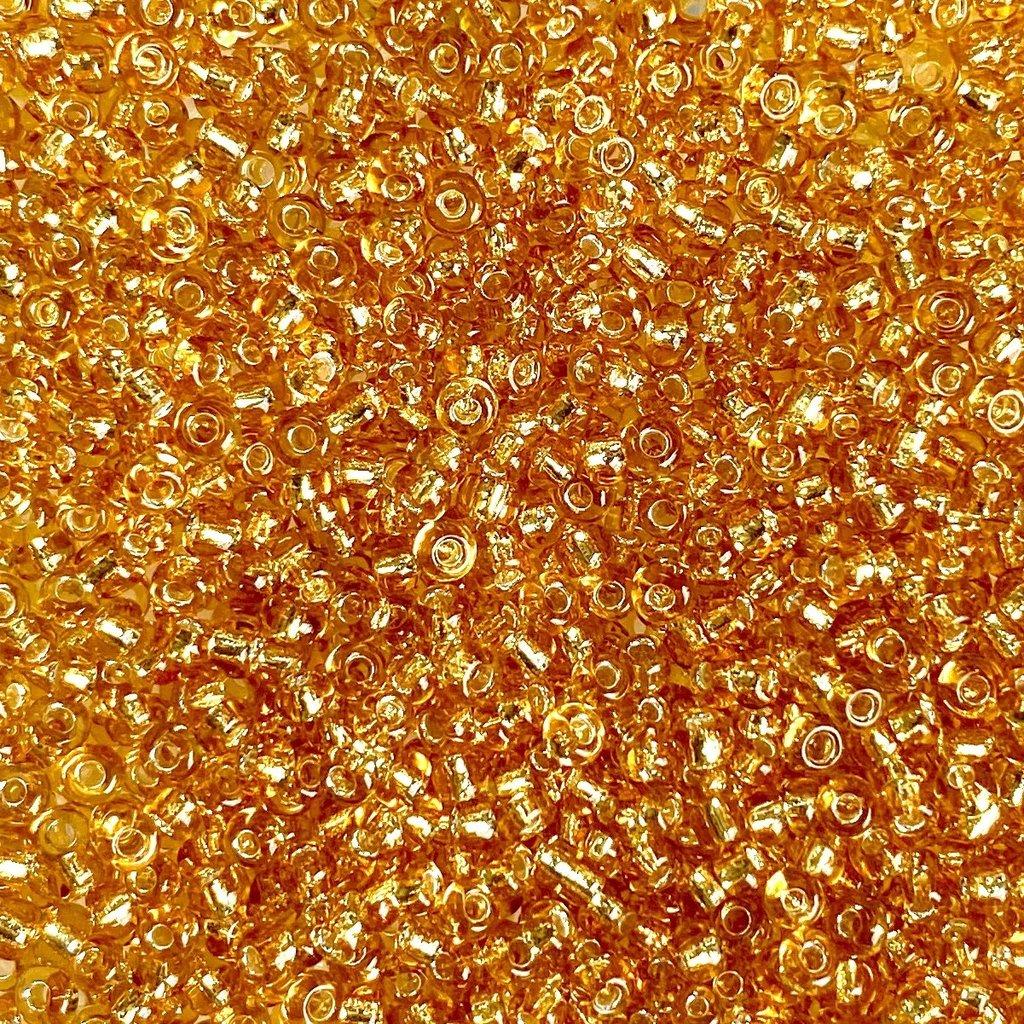 MJB #10  MJB Seed Beads   50gr  pkg  Silver Lined Gold