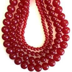 Glass Bead Strand Red Coral