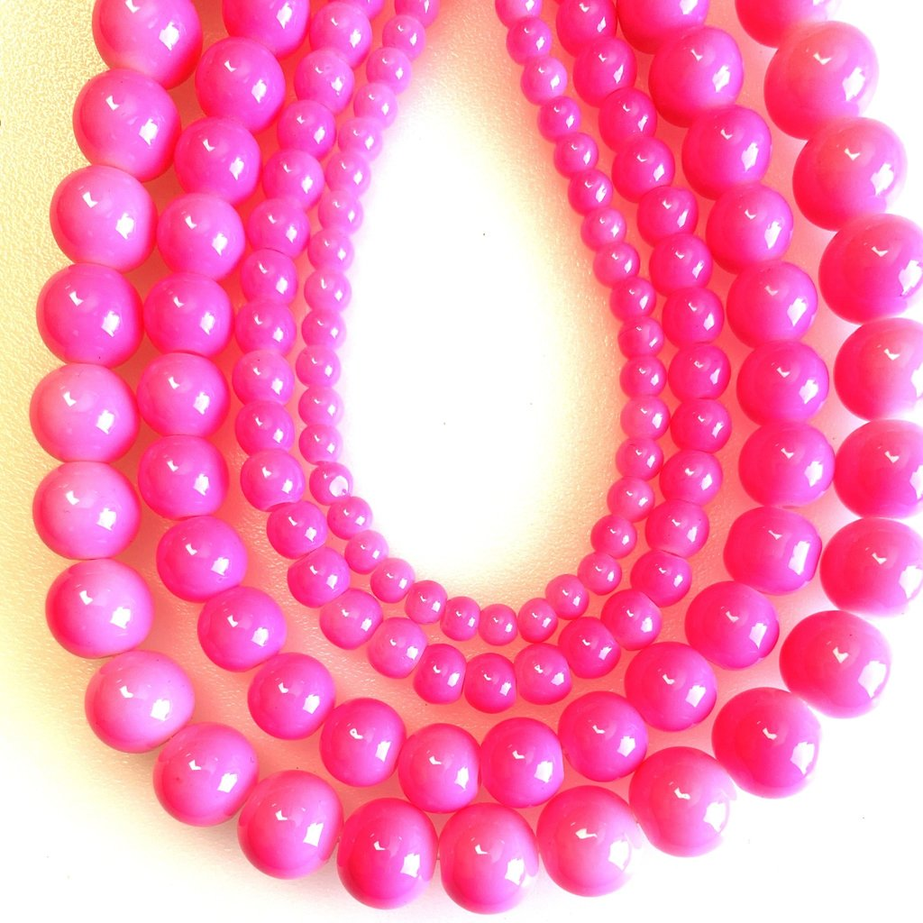 Glass Bead Strand Bubblegum Pink