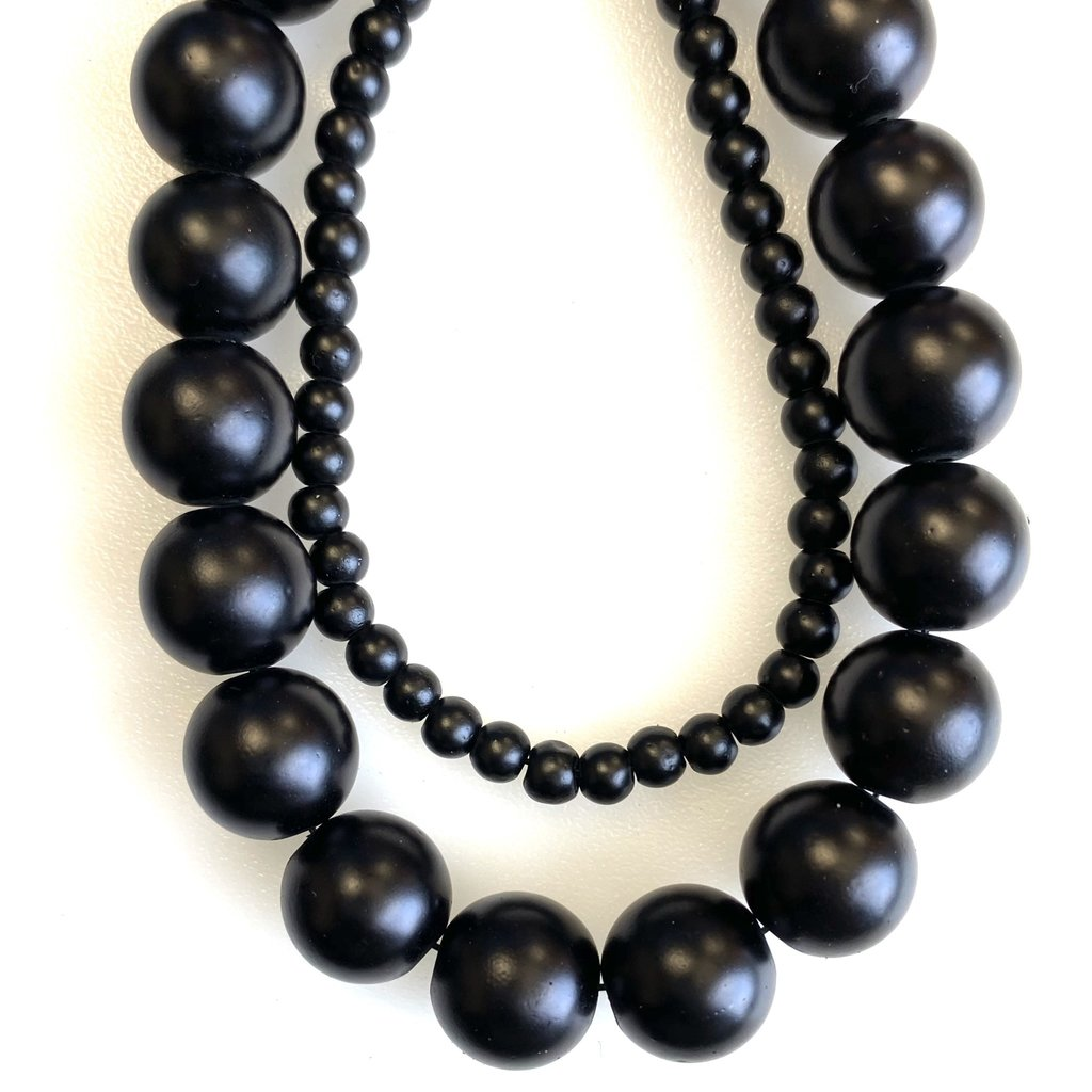 Glass Bead Strand Frosted Matte Black