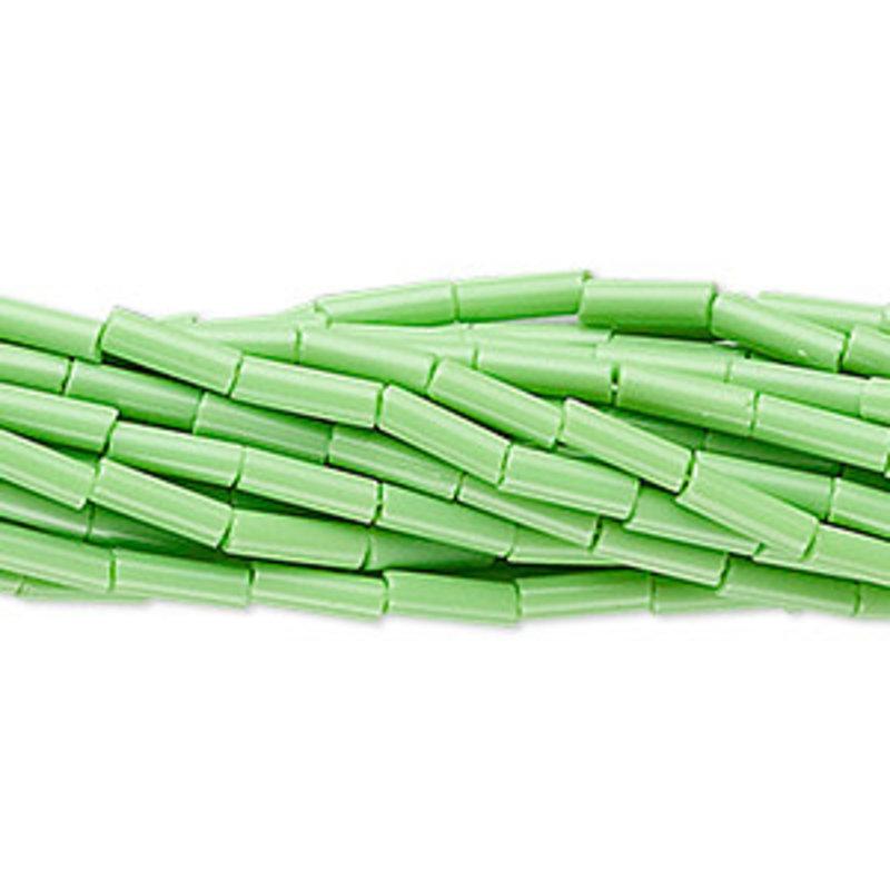 Preciosa Czech Bugle Bead #3  Opaque Lime Green/ Hank