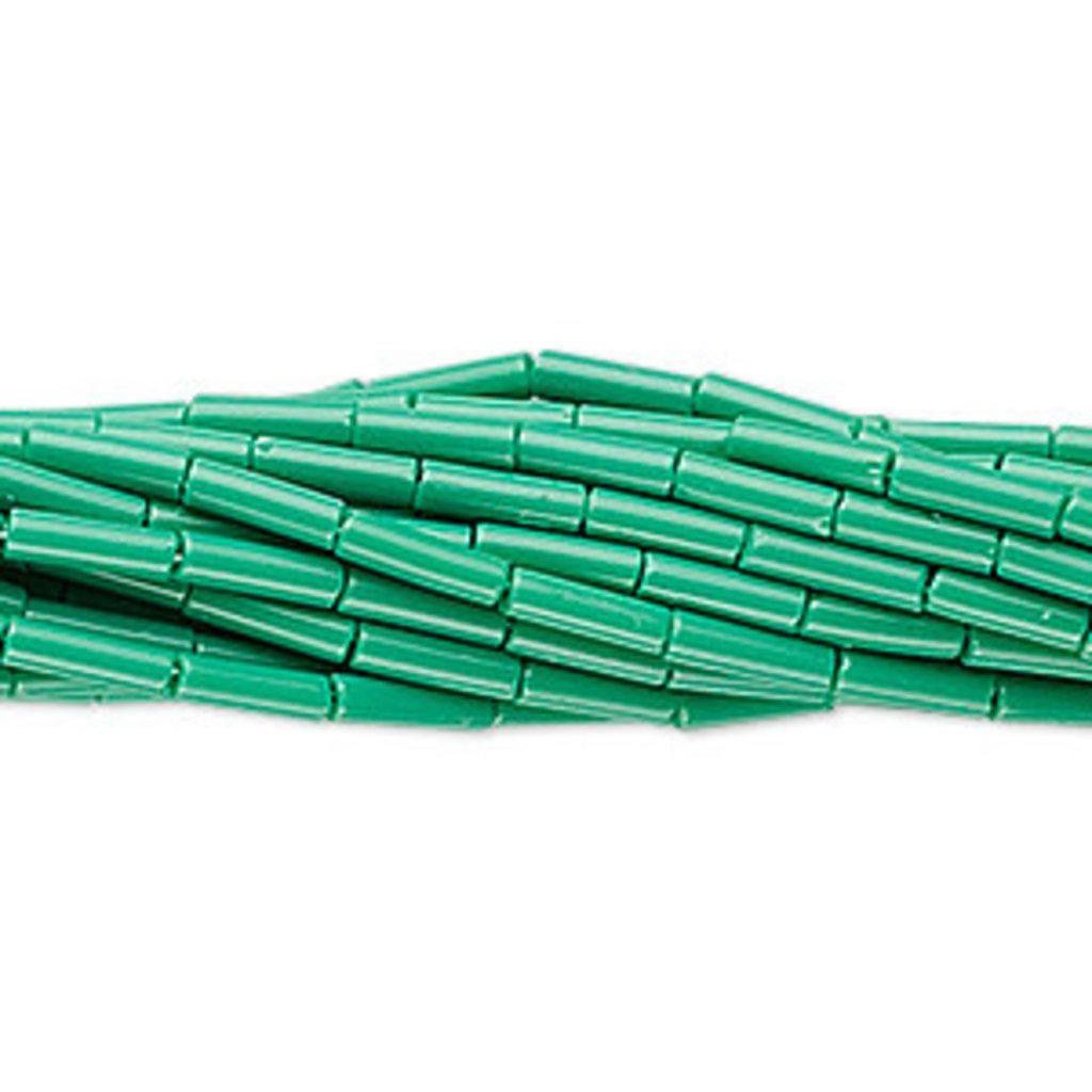 Preciosa Czech Bugle Bead #3 Opaque Green/ Hank