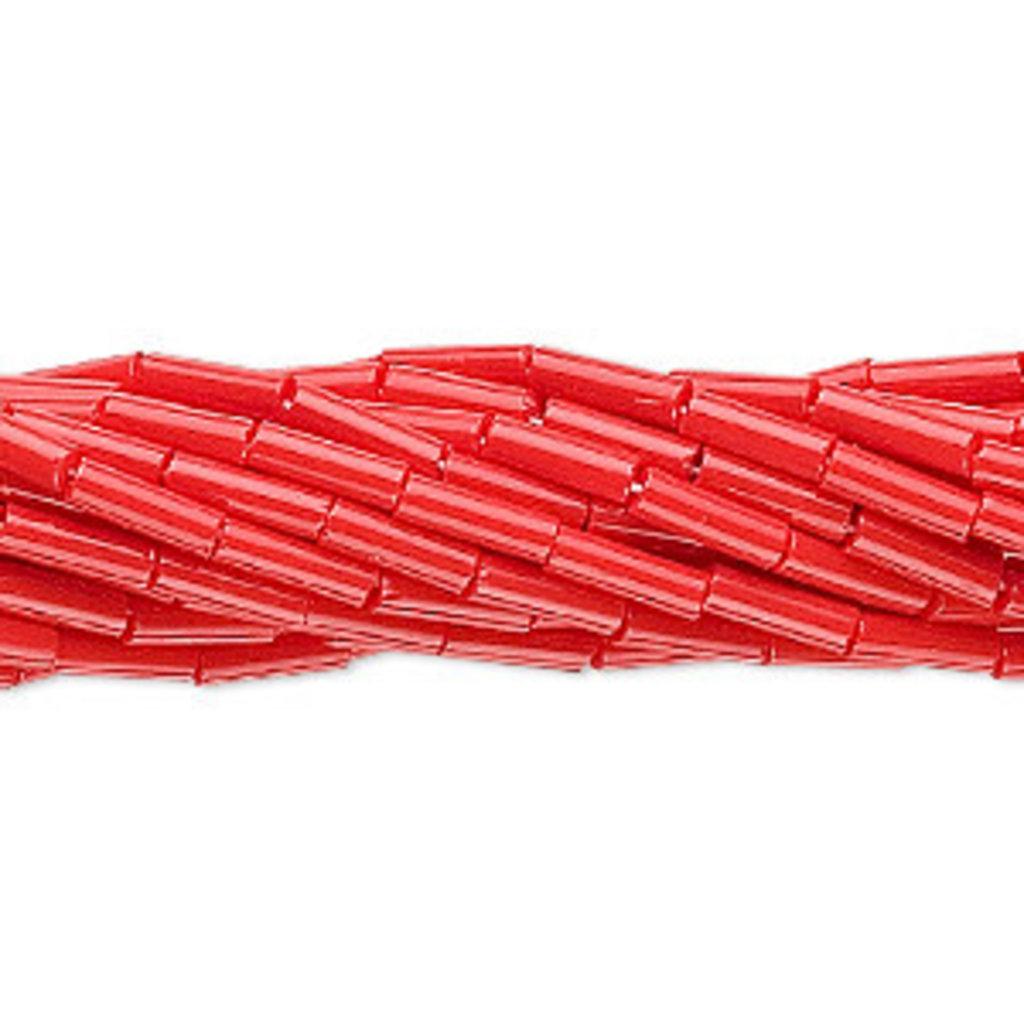 Preciosa Czech Bugle Bead Opaque Light Red/ Hank