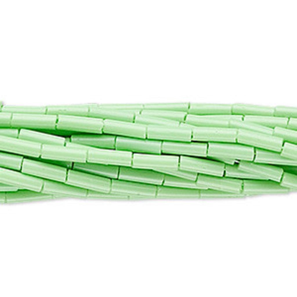 Preciosa Czech Bugle Bead #3  Opaque Pale Green/ Hank