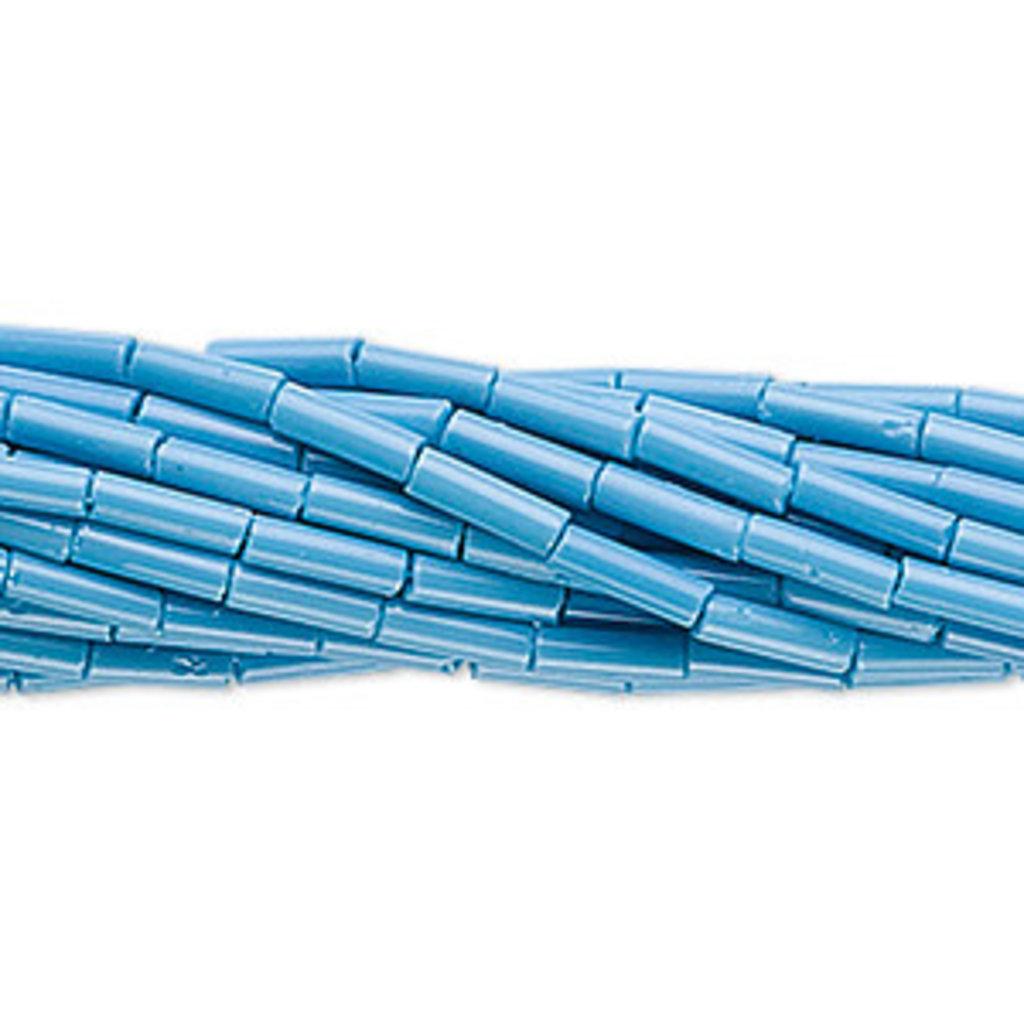 Preciosa Czech Bugle Bead #3 Opaque Sea Blue/  Hank
