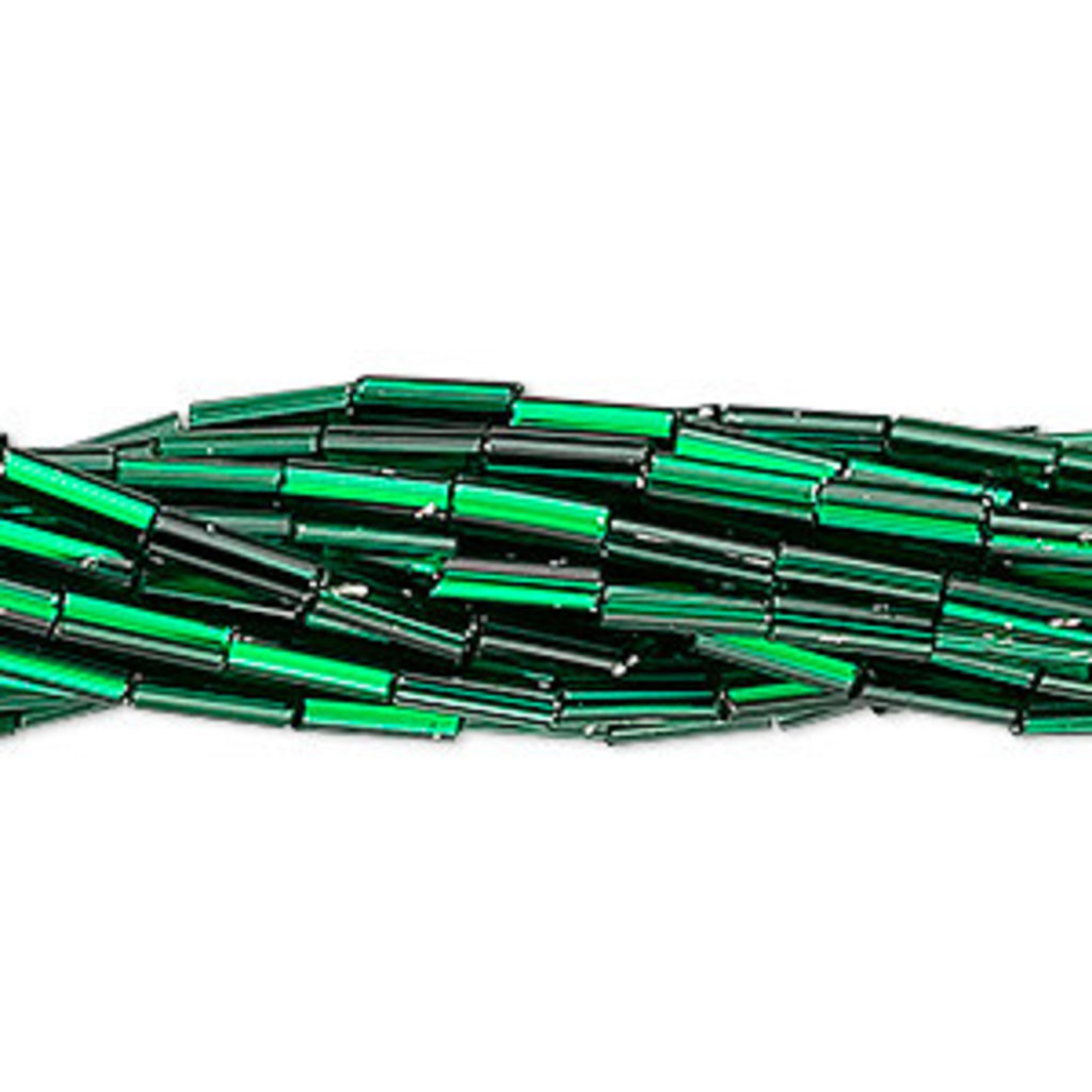 Preciosa Czech Bugle Bead #3 Silver-Lined Sq Hole Green/ Hank