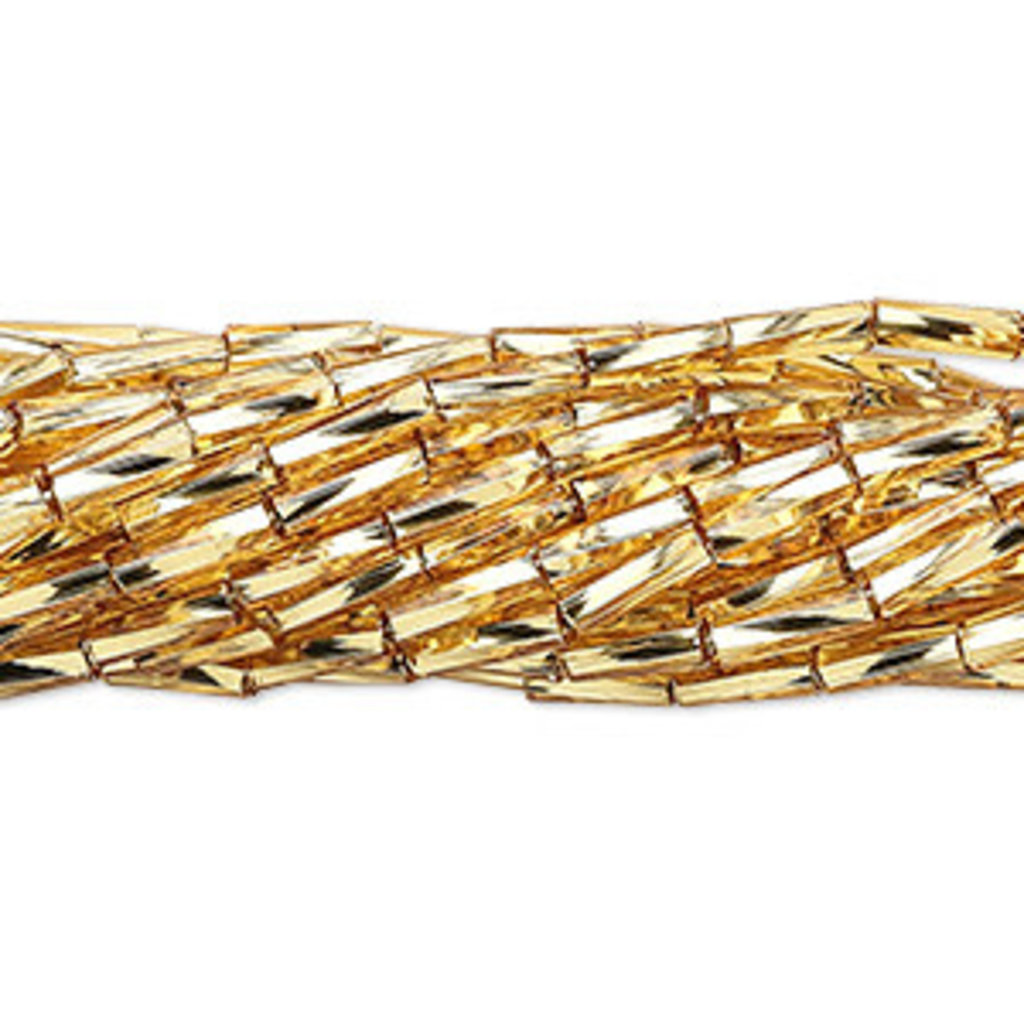 Preciosa Czech Bugle Bead #3  Twisted S-Lined Gold/ Hank