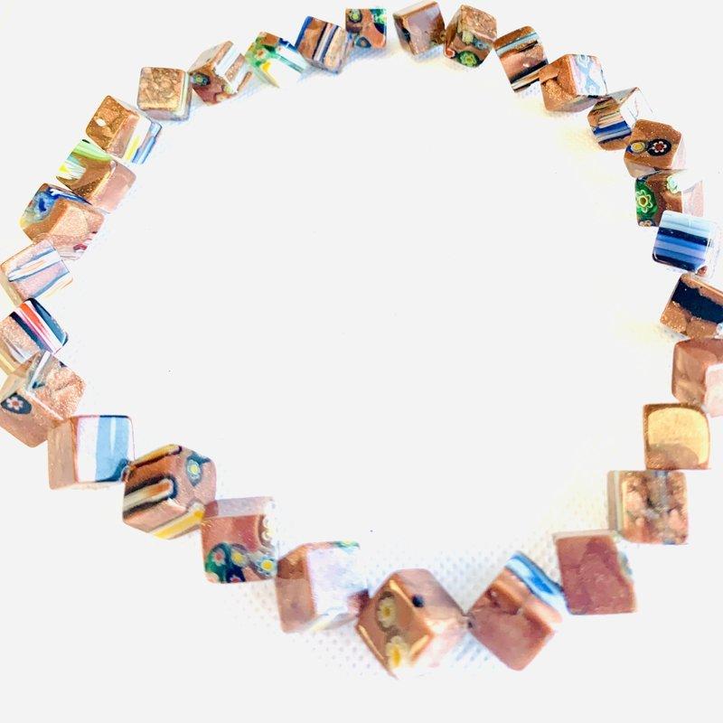 Bead World Lampwork Glass Beads  Cube Side Drilled  10x10mm  30pcs/strand
