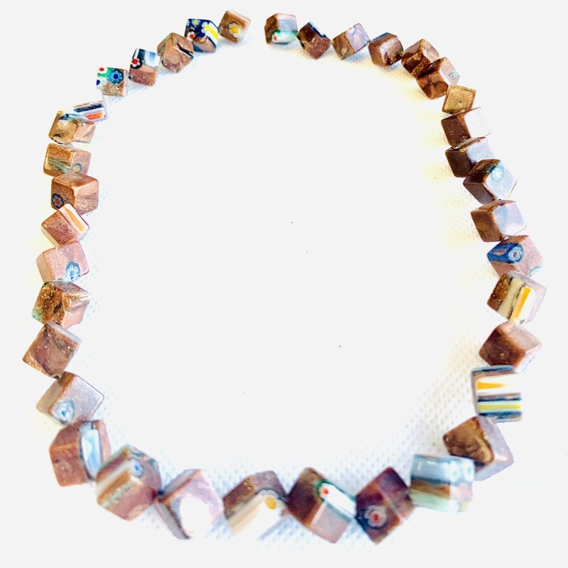 Bead World Lampwork Glass Beads  Cube Side Drilled  8x8mm  37pcs/strand