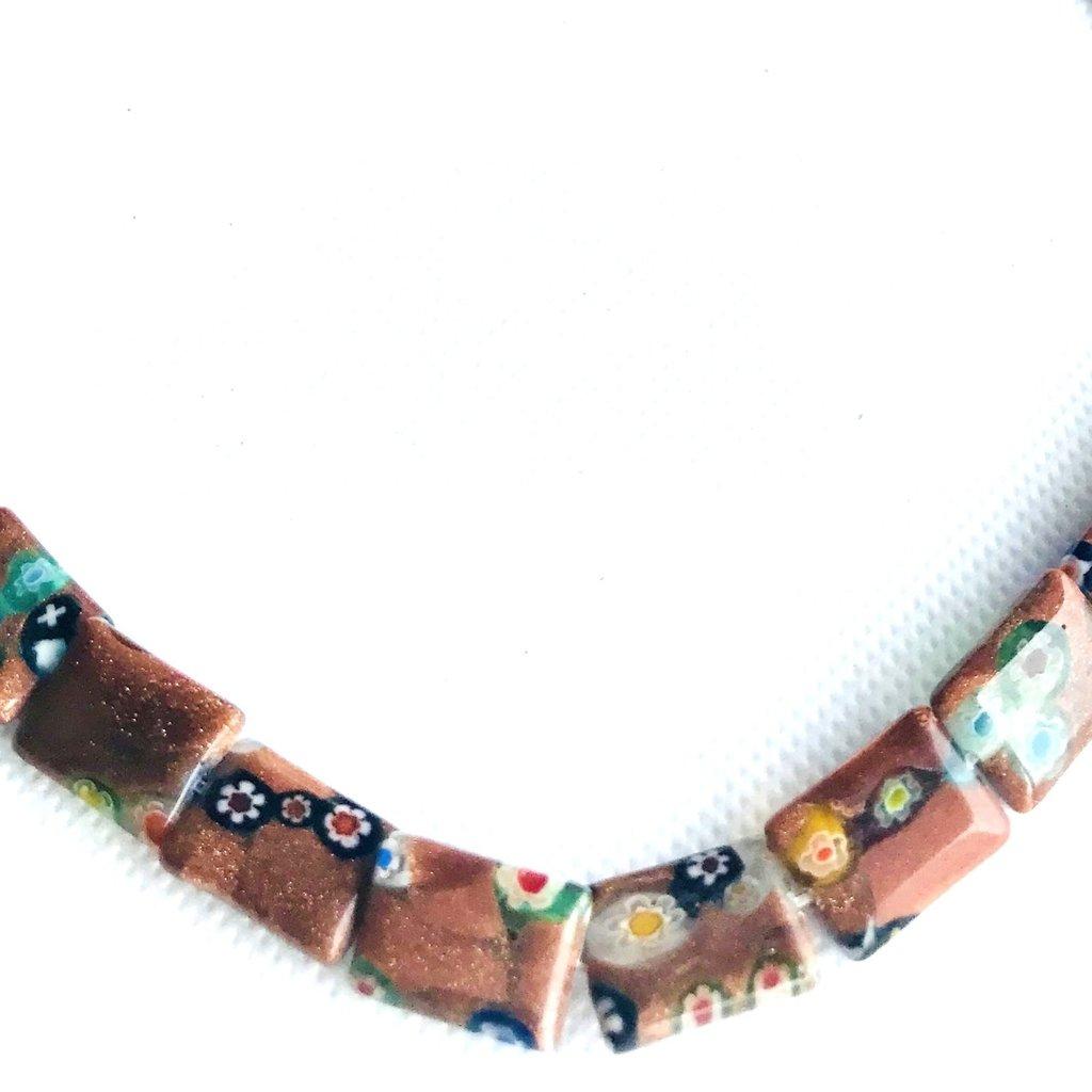 Bead World Lampwork Glass Beads  Rectangle  15x11mm  28pcs/strand