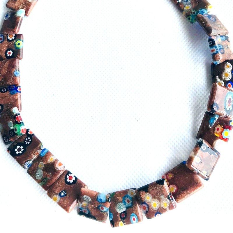 Bead World Lampwork Glass Beads  Square  14x14mm  28pcs/strand