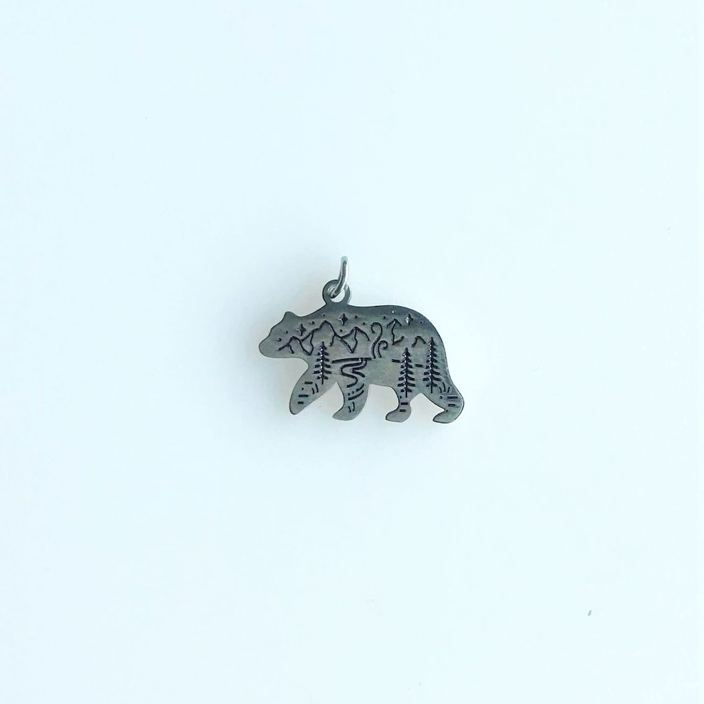 Bead World Bear And Mountain  Stainless Steel  12.7x18.5mm
