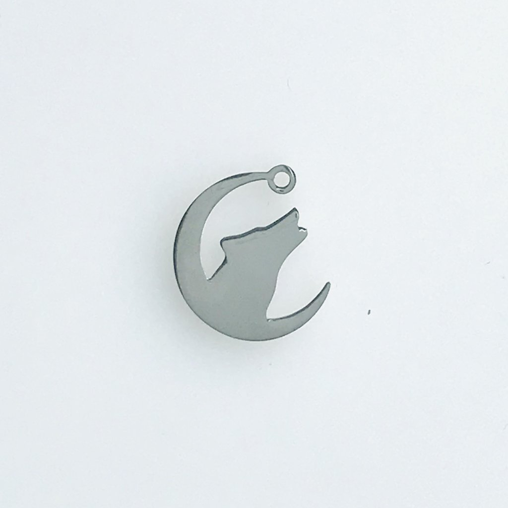 Bead World Howling Wolf And Moon  Stainless Steel  18.4x16.6mm