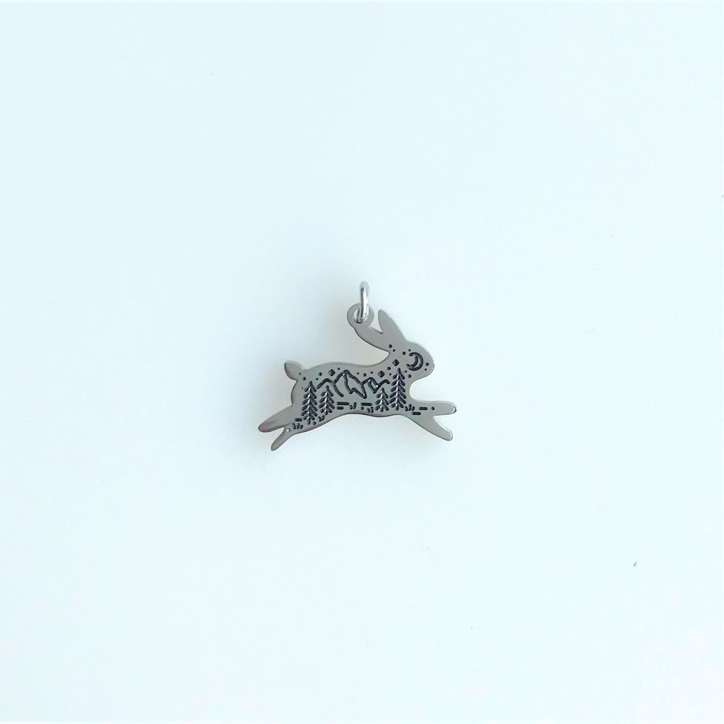 Bead World Rabbit And Mountain  Stainless Steel  13x18.2mm