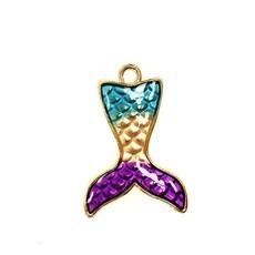 Bead World Mermaid Tail Enamel-Purple/Gold/Aqua 20mm x 30mm 2 pcs.