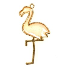 Bead World Flamingo Enamel- Light Pink/Sparkle  24mm x 40mm  3pcs.