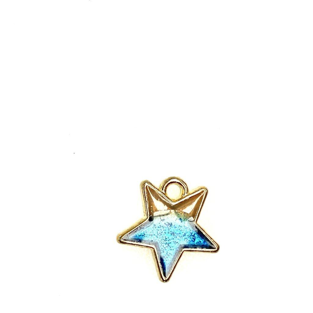 Bead World Star  Enamel - Two Toned Sparkle - 16mmx 16mm 3pcs