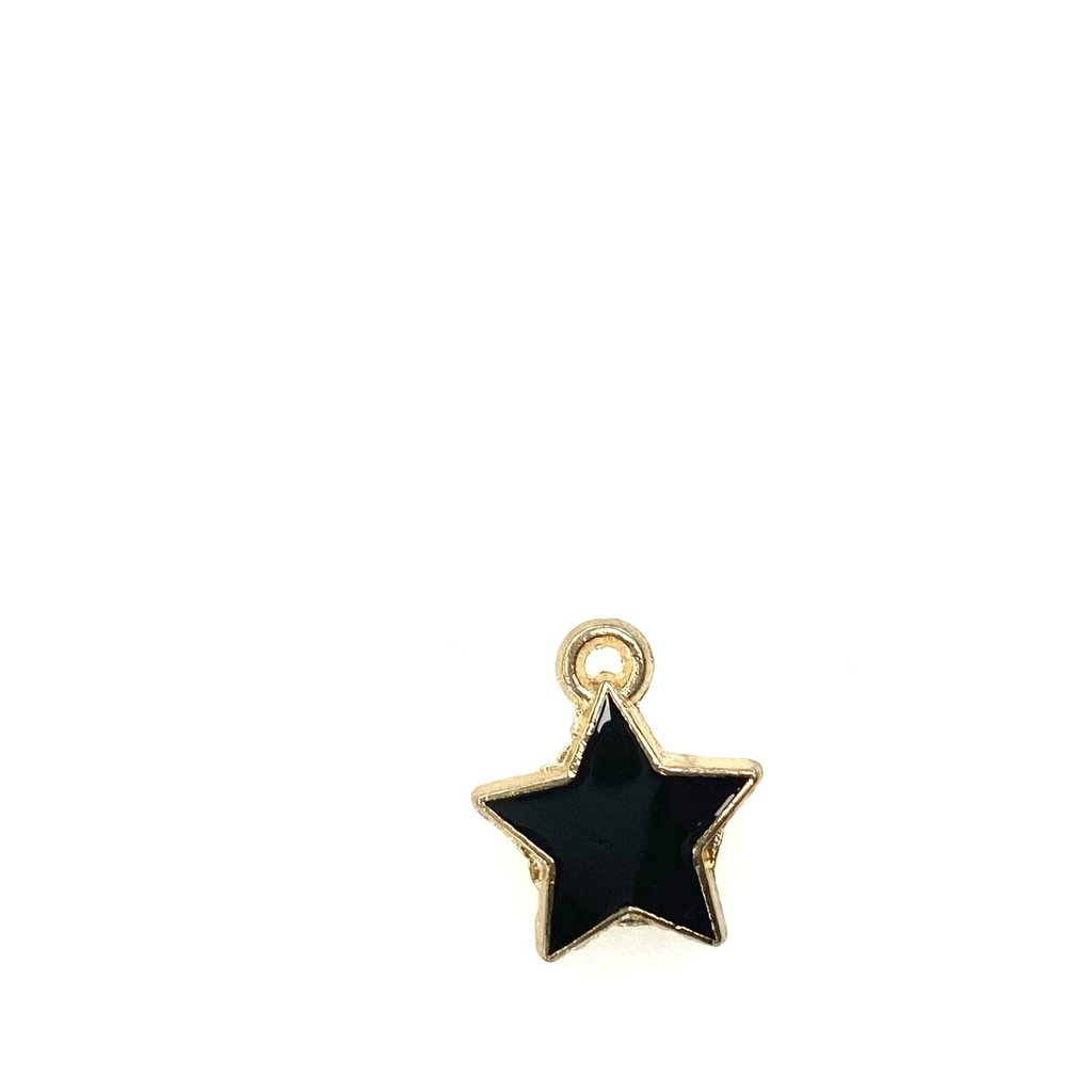 Bead World Star Enamel- Black 15mm x 15mm  3pcs.