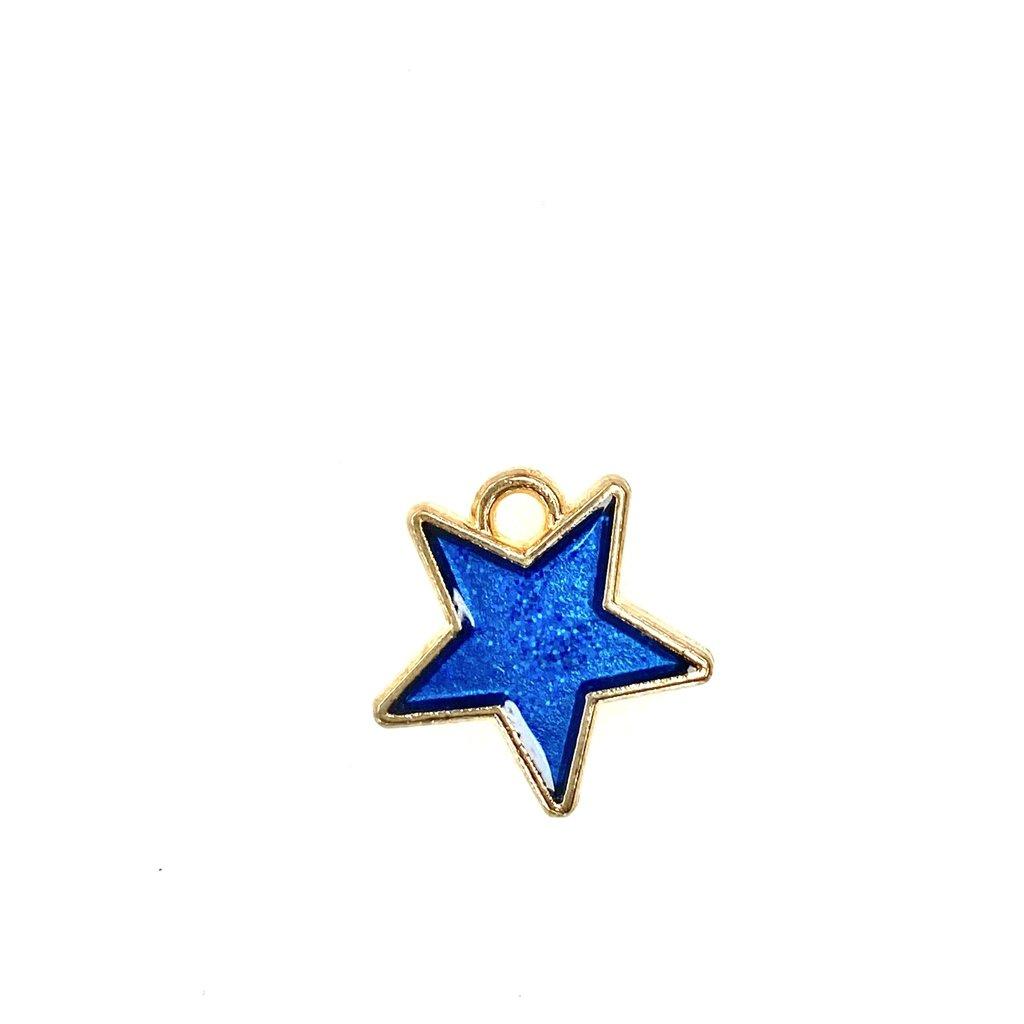 Bead World Star Enamel- Dk. Blue Sparkle 16mm x 16mm  3pcs.