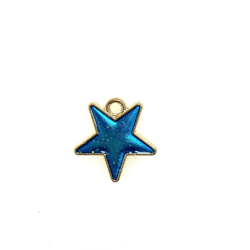 Bead World Star Enamel- Light Blue Sparkle 16mm x 16mm  3pcs.
