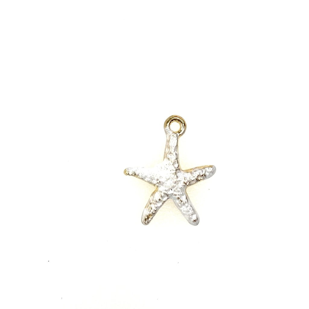 Bead World Starfish Enamel- White  15mmx 18mm  3pcs.