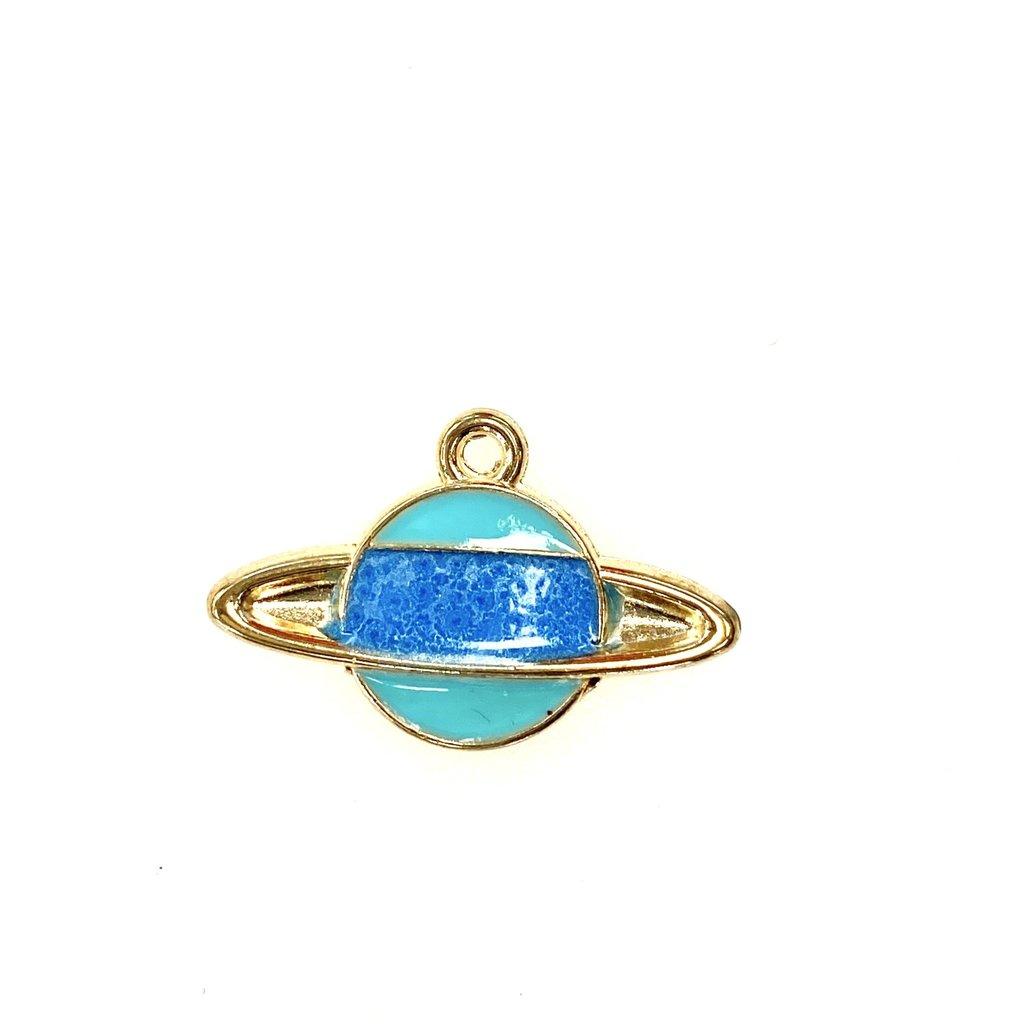 Bead World Planet Enamel- Light Blue/Dk. Blue 25mmx 15mm 3pcs.