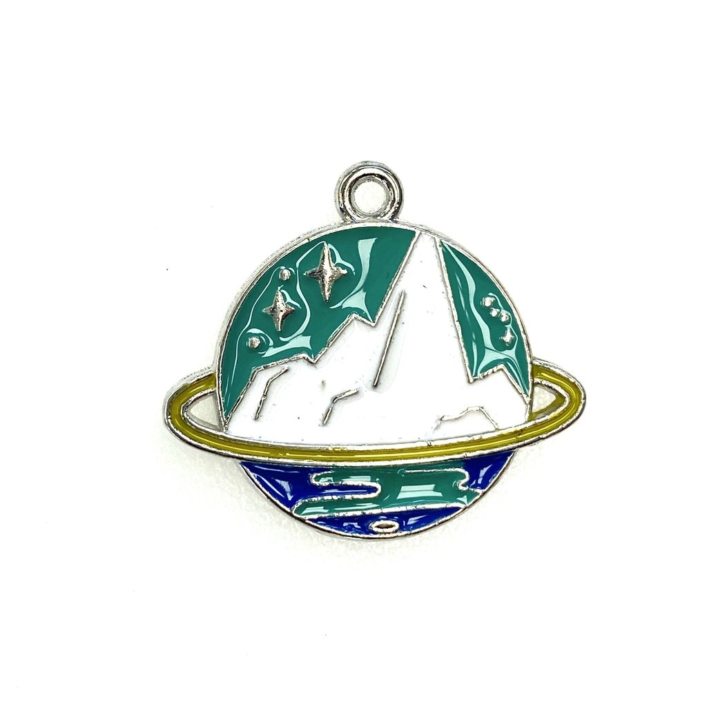 Bead World Planet with Mountains Enamel - 28mm x 25mm  2pcs.