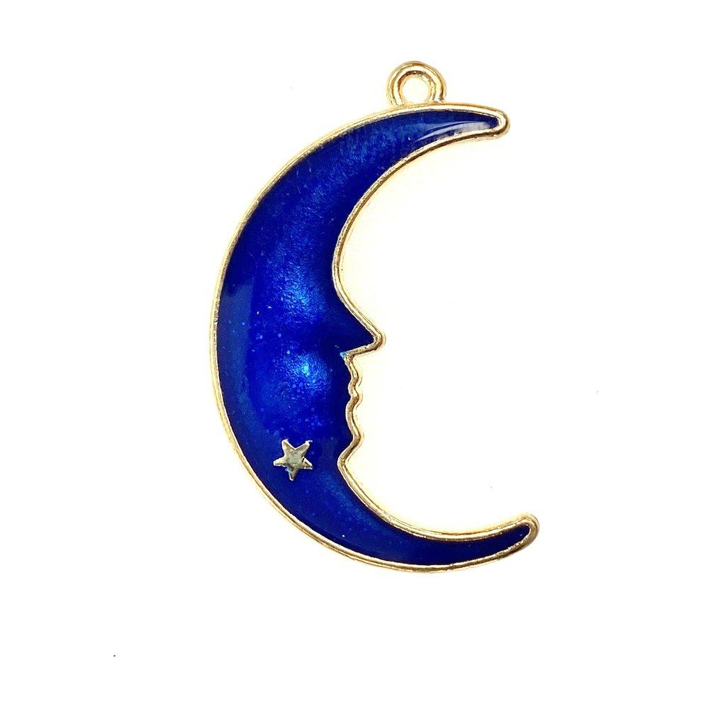 Bead World Moon Face Enamel-  Dark Blue Sparkle 24mmx 38mm 2pcs.