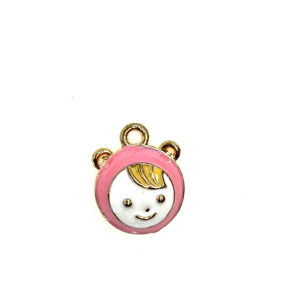 Bead World Baby Enamel- Pink - 14mmx 16mm 3pcs