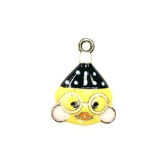 Bead World Chick With Glasses Enamel - 20mmx 26mm 2pcs