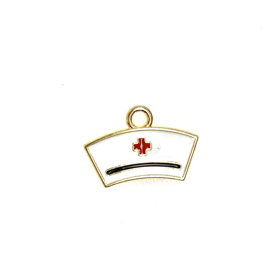 Bead World Nurse Hat  Enamel Rhodium  20 mm x 15mm 3 pcs.