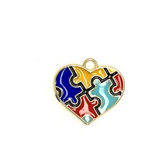 Bead World Puzzel Heart Enamel20mm x 20mm 3pcs.
