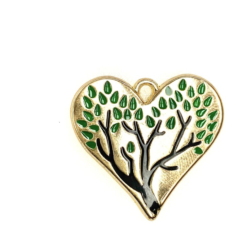 Bead World Heart Tree Enamel - Green 30mm x 30mm 2pcs.