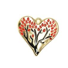Bead World Heart Tree Enamel - Red 30mm x 30mm 2pcs.