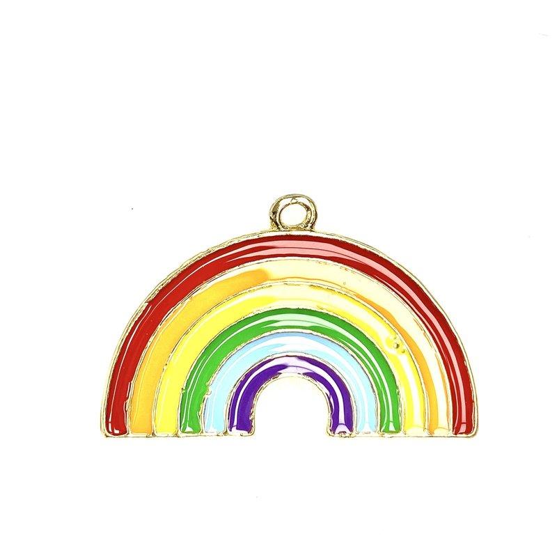 Bead World Rainbow  Enamel -  32mm x 20mm 2pcs.