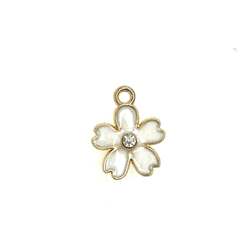 Bead World Flower Enamel/Rhinestone -White  15mm x 18mm 3pcs.