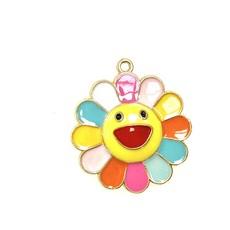 Bead World Happy Flower/ Multi Color Enamel -  25mm 2pcs.
