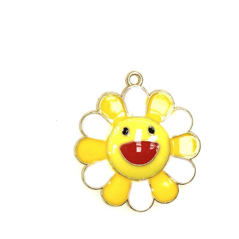 Bead World Happy Flower/Yellow Enamel -  25mm 2pcs.