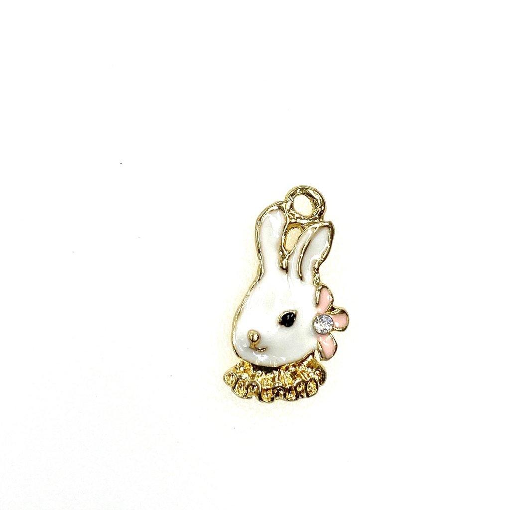Bead World Rabbit Head/Flower  Enamel 12mm x 20mm 3pcs.