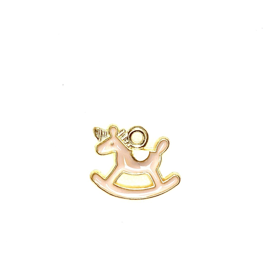 Bead World Rocking Horse Baby - Pink Enamel 18mm x 15mm 3pcs.