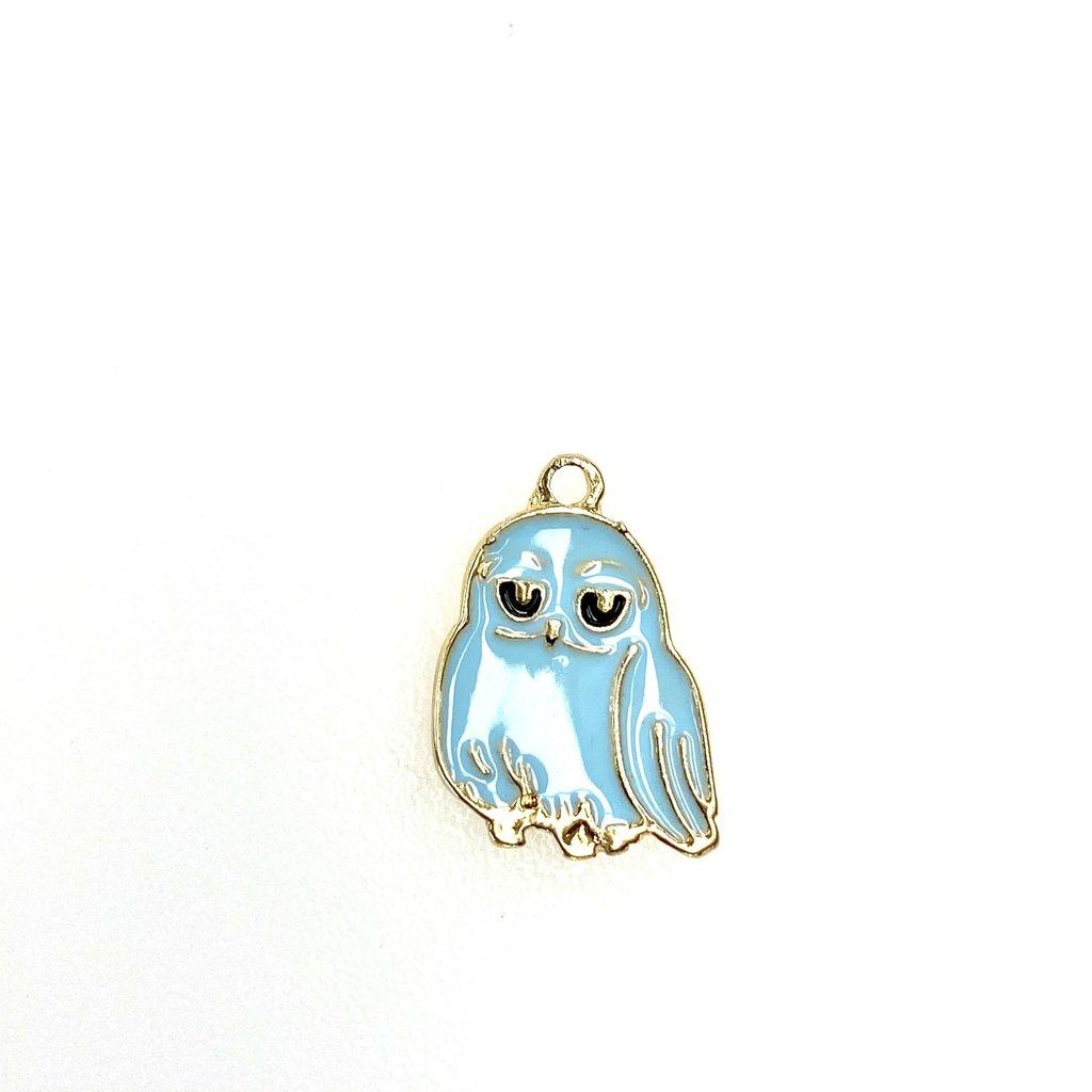 Bead World Owl Enamel- Blue  14mm x 18mm 3pcs.