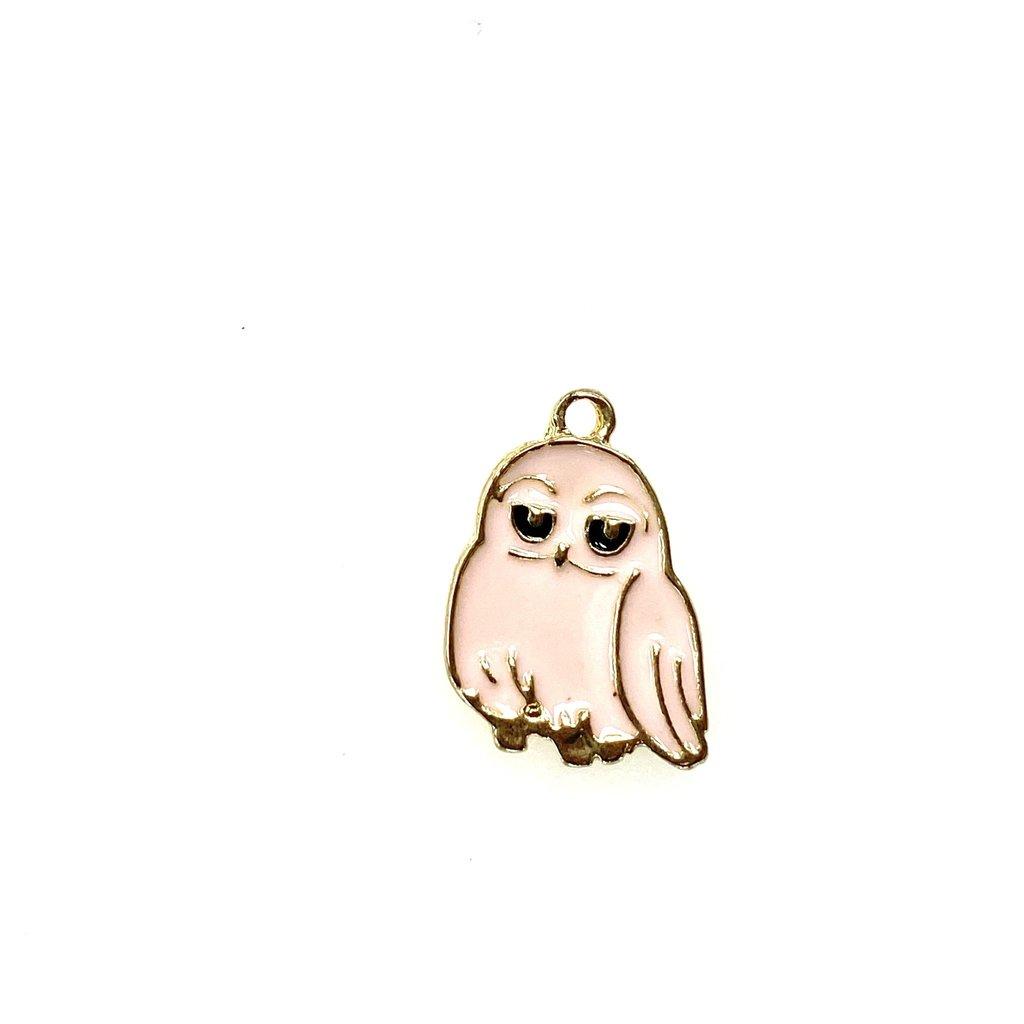 Bead World Owl Enamel- Pink  14mm x 18mm 3pcs.