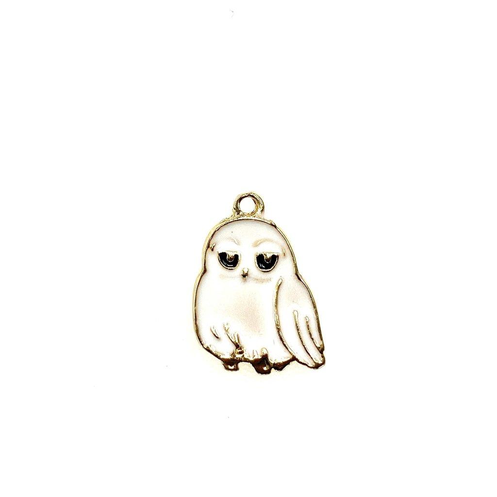 Bead World Owl Enamel- White  14mm x 18mm 3pcs.