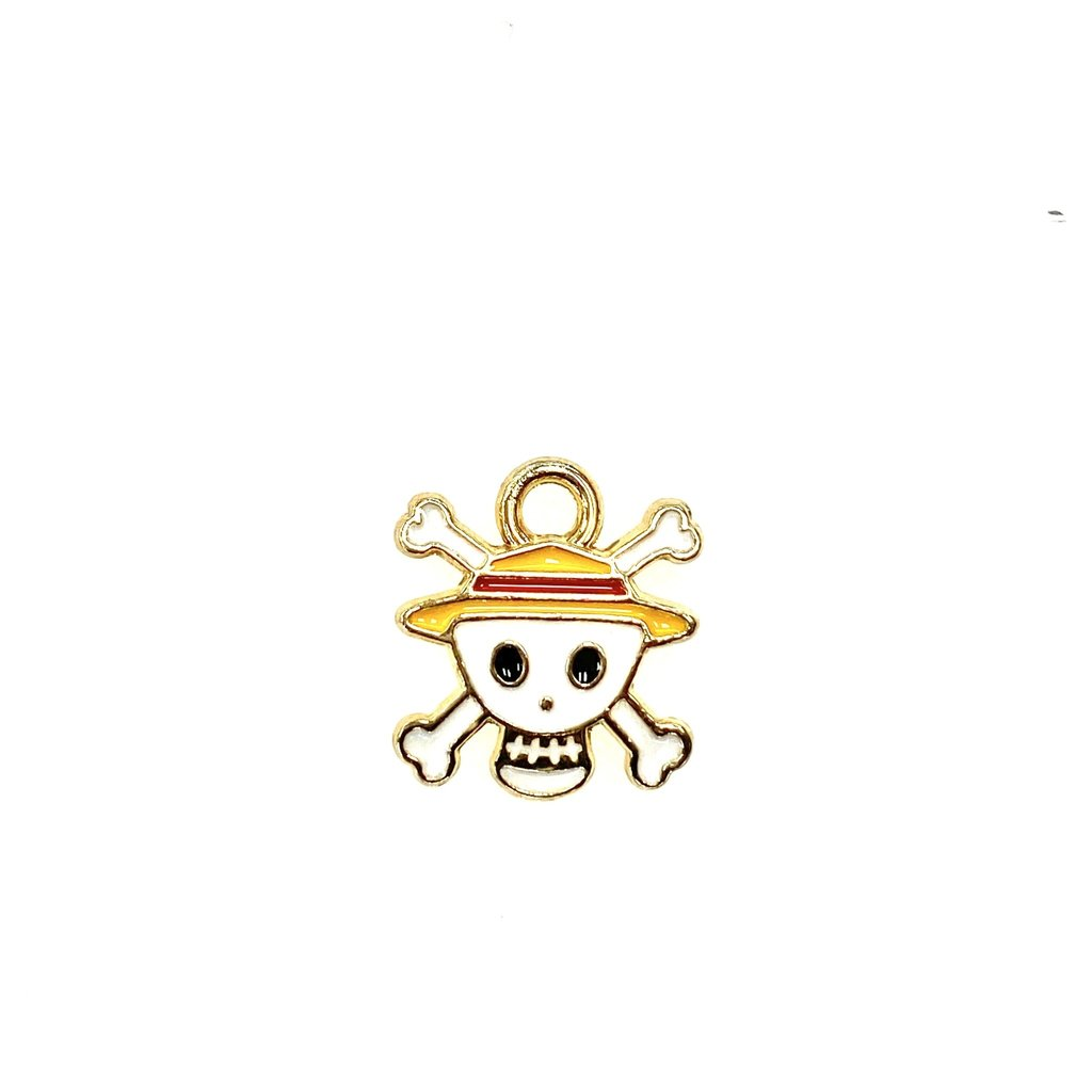 Bead World Skull with Hat Enamel -White  12mm x 20mm 3pcs.
