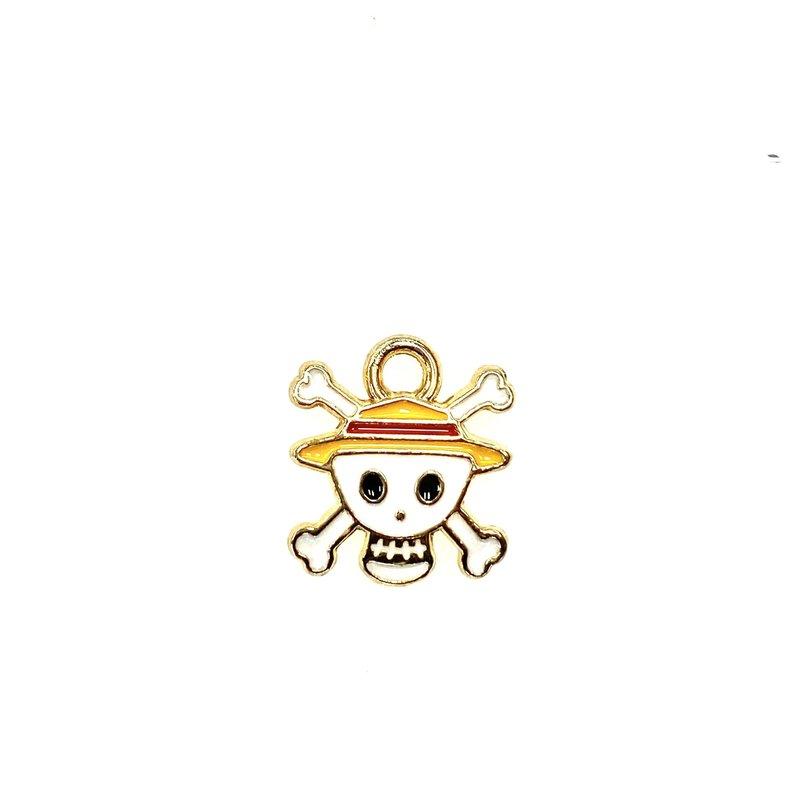 Bead World Skull with Hat Enamel -White  12mm x 20mm 3pcs.