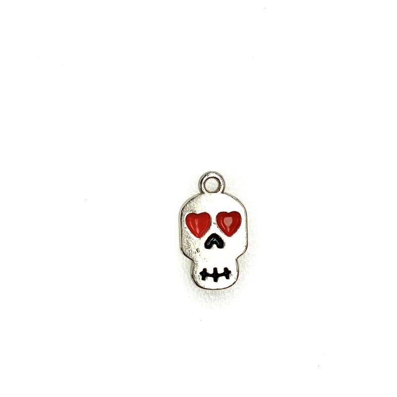 Bead World Skull With Heart Eyes Enamel -  8mm x 14mm 3pcs.