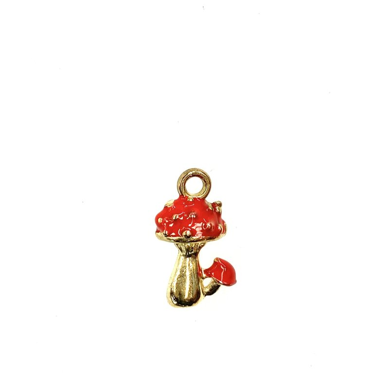 Bead World Mushrooms Enamel -Red  10mm x 18mm 3pcs.