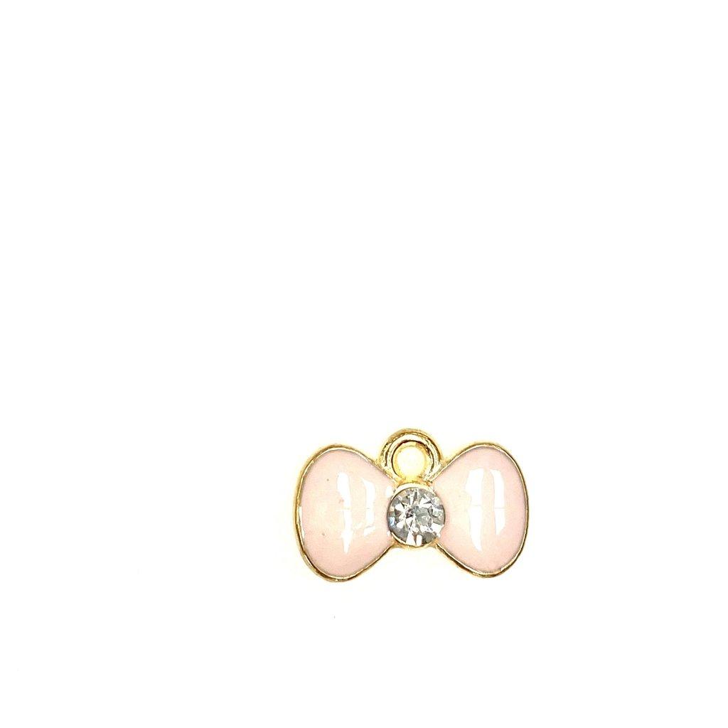 Bead World Bow Enamel /Rhinestone- Pink  15mm x 10mm 3pcs.