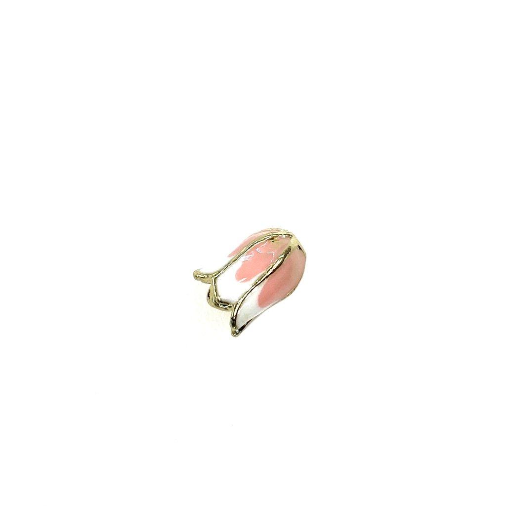 Bead World Tulip Bead/Verticle Hole  Enamel -Pink/White  12mm x 20mm 3pcs.